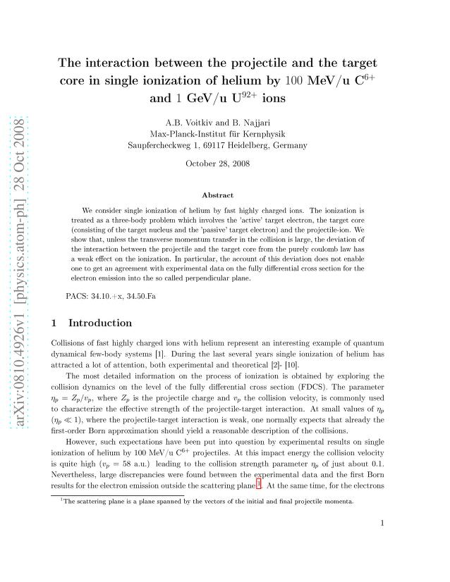 A. B. Voitkiv - The interaction between the projectile and the target core in single ionization of helium by 100 MeV/u C$^{6+}$ and 1 GeV/u U$^{92+}$ ions