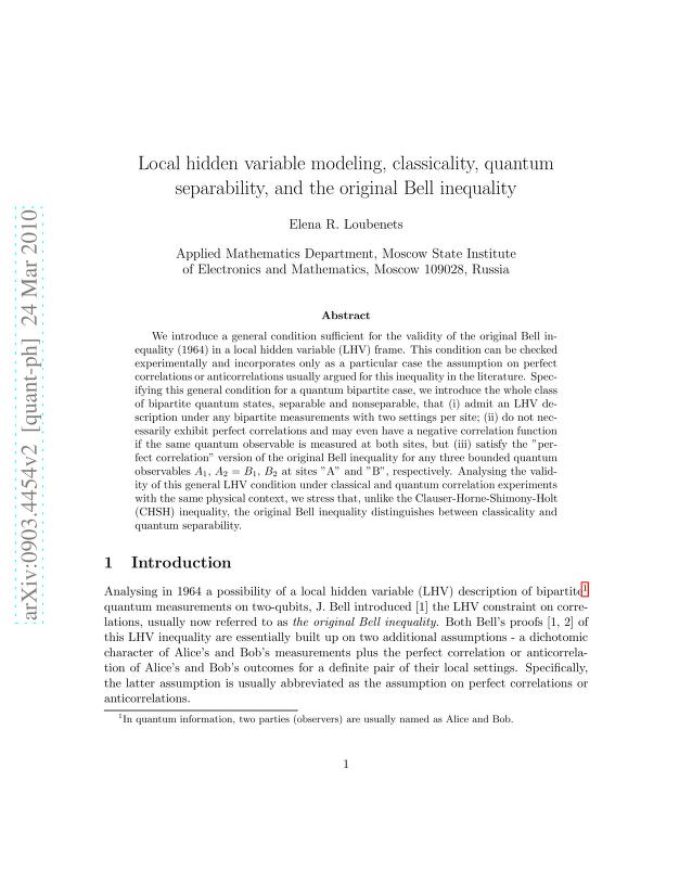 Elena R. Loubenets - Local hidden variable modelling, classicality, quantum separability, and the original Bell inequality