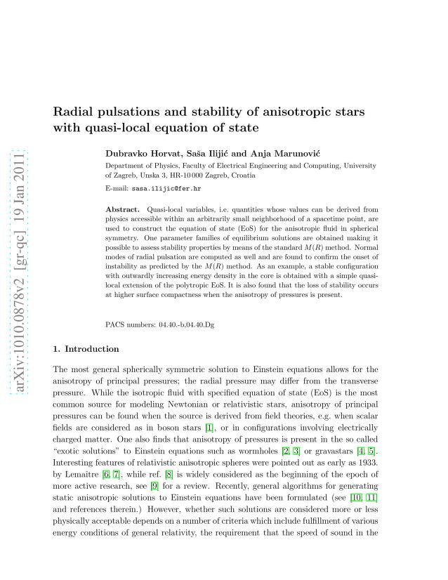Dubravko Horvat - Radial pulsations and stability of anisotropic stars with quasi-local equation of state