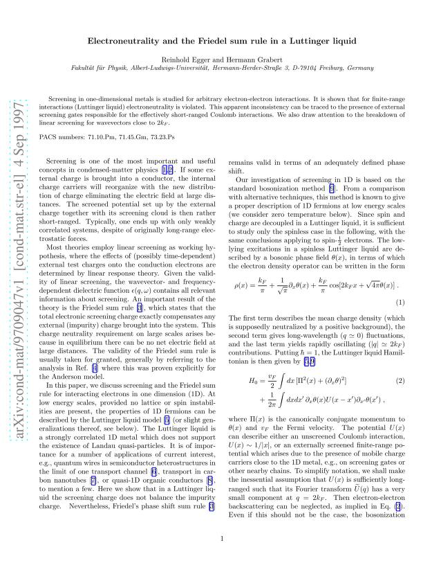 Reinhold Egger - Electroneutrality and the Friedel sum rule in a Luttinger liquid