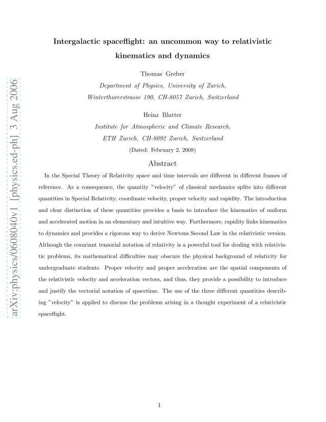 Thomas Greber - Intergalactic spaceflight: an uncommon way to relativistic kinematics and dynamics