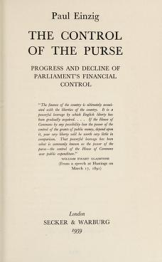 Cover of: The control of the purse | Einzig, Paul